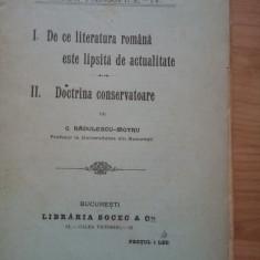 C. Radulescu - Motru - Doctrina conservatoare. De ce este literatura (1907)