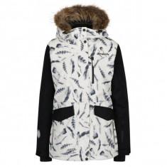 Geaca negru&crem impermeabila cu print pene pentru femei MEATFLY Chelsea - haina de blana