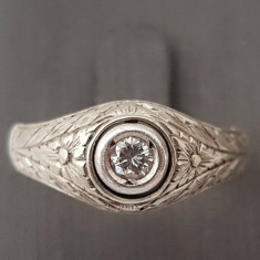 Inel din aur 12k cu diamant, gravat cu modele florale