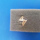 Inel aur 14K 2 rânduri safire și 2 rânduri diamante