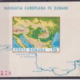 #2195 Romania 1977  colita nedantelata neuzata LP 950:  Navigatia pe Dunare, Transporturi, Nestampilat