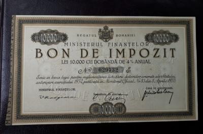 Bon de impozit 10000 lei 1933 - semnatura Madgearu - Nominal Rar - piesa Rara foto