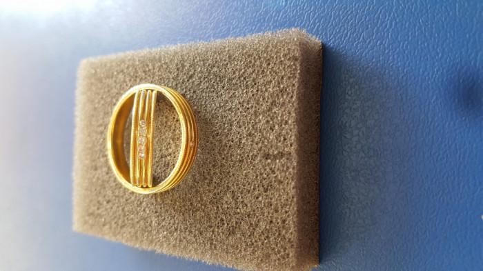 Verighete elegante aur galben 18k cu diamante