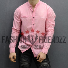 Camasa barbati cu guler tunica slimfit roz