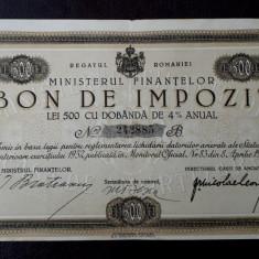 Bon de impozit 500 lei 1933 - semnatura Bratianu
