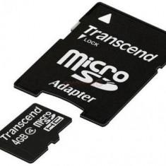 Card de memorie Transcend microSDHC, 4GB, Clasa 4 + Adaptor SD