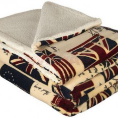 Patura fleece cu blanita Heinner HR-BLKT220-UK, 200 x 220 cm, Poliester, imprimeu UK (Multicolora)
