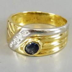 Inel din aur 18k cu safir si diamante