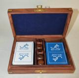 Pachet dublu de carti de joc si zaruri lemn, in caseta de lemn cu intarsie alama