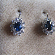 LICHIDEZ COLECTIE- CERCEI CU SAPHIRE SI BRILIANTE CU CERTIFICAT - Cercei cu diamante
