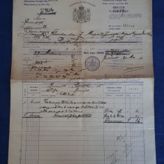"Polita de asigurare Soc. "" Nationala "" - 1924 - Piesa f. rara"