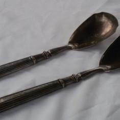 argint LINGURA si FURCULITA set VECHI pentru PLATOU splendid Patina Minunata RAR