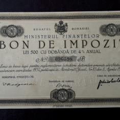 Bon de impozit 500 lei 1933 - semnatura Madgearu