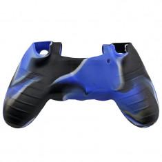 Husa din silicon pentru controller PS4 Culoare Negru - Albastru