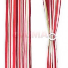 Set doua draperii Heinner HR-DR140-RED01, 140 x 270 cm, Bumbac, model Dungi Rosii (Alb/Rosu)