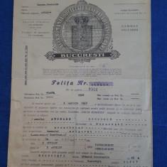 """Polita de asigurare """" Dacia - Romania """"  - 1948"""