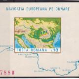 #2196 Romania 1977  colita nedantelata neuzata LP 950:  Navigatia pe Dunare, Transporturi, Nestampilat