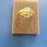 Inel aur 18k cu diamante și turcoaz