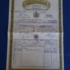 "Polita de asigurare Soc. "" Nationala "" - 1931 - Piesa rara"