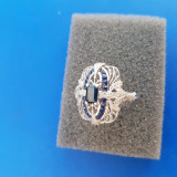 Inel aur 14k stil filigram cu diamante și safire