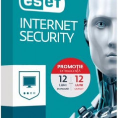 ESET Internet Security, 1 PC, 1 an, 1, Licenta noua, BOX/Retail + 12 Luni GRATUIT - Antivirus