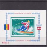 #2192 Romania 1976  colita nedantelata neuzata LP 903:  Olimpiada Innsbruck, Sport, Nestampilat