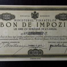 Bon de impozit 1000 lei 1933 - semnatura Bratianu