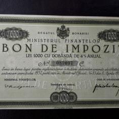 Bon de impozit 1000 lei 1933 - semnatura Madgearu - Varianta rara
