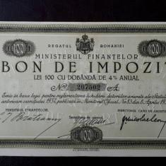 Bon de impozit 100 lei 1933 - semnatura Bratianu