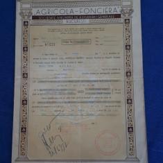 """Polita de asigurare """" Agricola - Fonciera """" - 1937"""