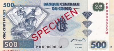 Congo 500 Francs 04.01.2002 UNC foto