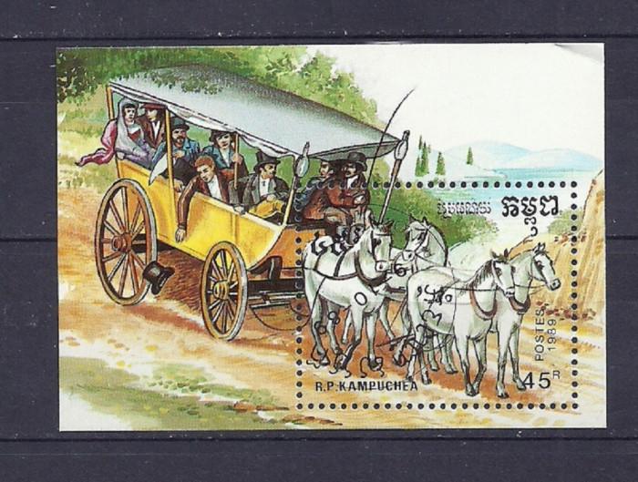 KAMPUCHEA 1989 – TRASURA, colita stampilata, TR118