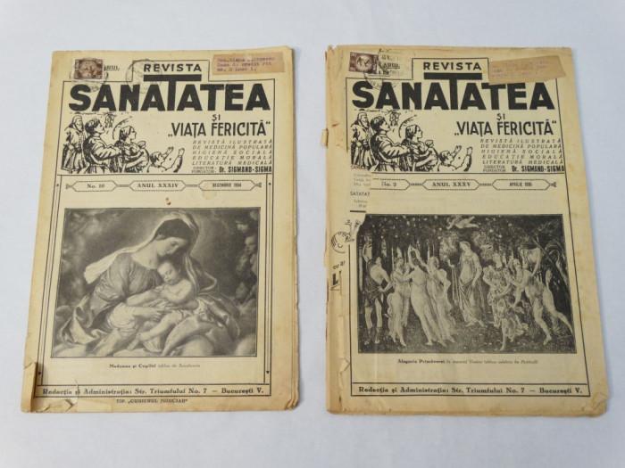 Revista Sanatatea nr. 10 / 1934 si nr. 2 / 1935 foto mare