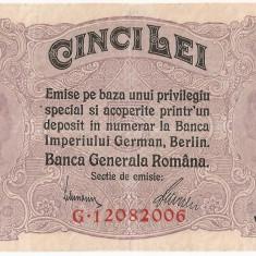 ROMANIA 5 LEI BGR 1917 AUNC - Bancnota romaneasca