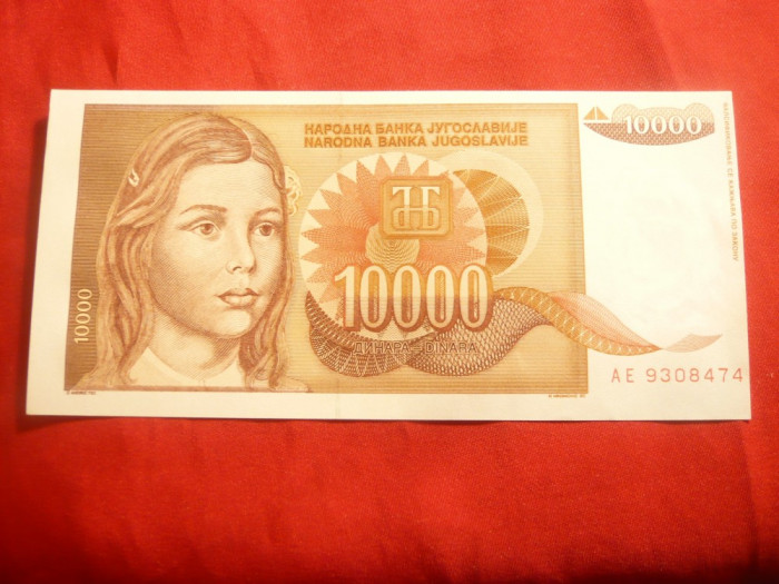 Bancnota 10 000 Dinari 1992 Yugoslavia , cal. NC foto mare