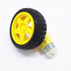 Roata roboti din material plastic si cauciuc + motor DC, pt Arduino uno mega ESP