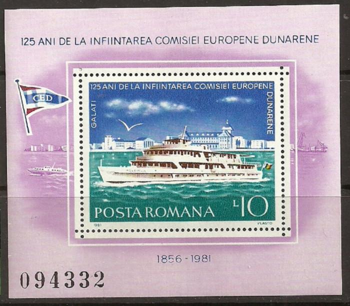 ROMANIA 1981 – VAPOARE PE DUNARE, colita nestampilata TR127 foto mare