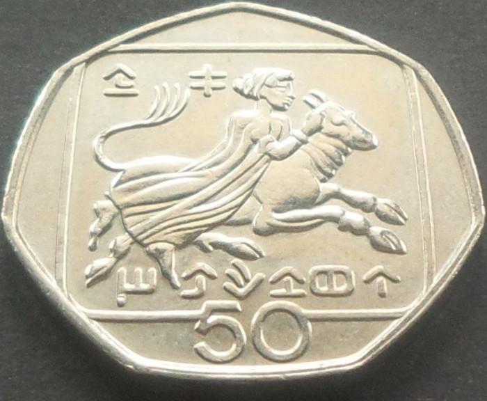 Moneda 50 CENTI - CIPRU, anul 1994   *cod 4194  - UNC! foto mare