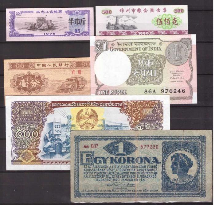 Lot 6 bancnote straine, circulate foto mare