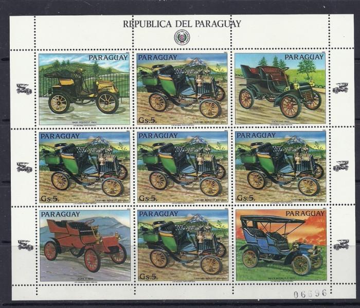 PARAGUAY 1986 – AUTOMOBILE DE EPOCA GERMANE, kleinbogen MNH, TR122