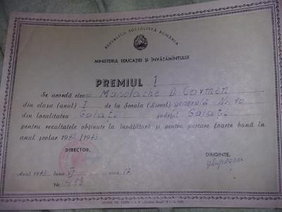 PREMIUL 1,Scoala Generala nr.10 Galati,1973,Republica Socialista ROMANIA,T.GRAT foto