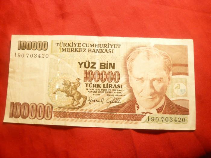 Bancnota 100 000 Lire Turcia 1970 , cal. f.buna foto mare
