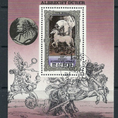 KOREA 1980 – PICTURA CAI DE DURER, colita stampilata, TR72