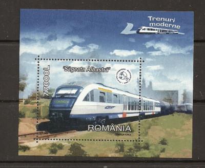 ROMANIA 2004 – TRENURI MODERNE, colita nestampilata TR126 foto