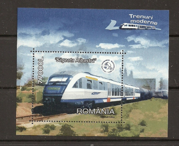 ROMANIA 2004 – TRENURI MODERNE, colita nestampilata TR126 foto mare