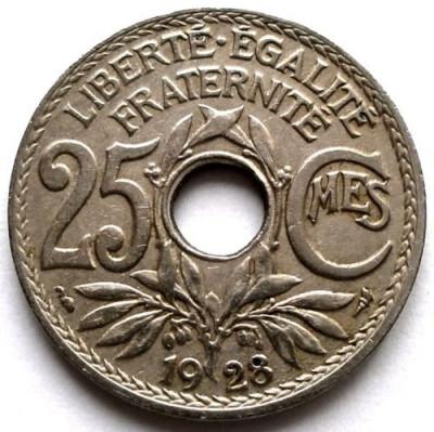 Franta A treia Republica (1871-1940) 25 Centimes 1928 , DIAMETRU 24mm. foto