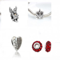 SET 4 charm talismane ZANA CASTEL INIMA pentru Bratara PANDORA -, Femei