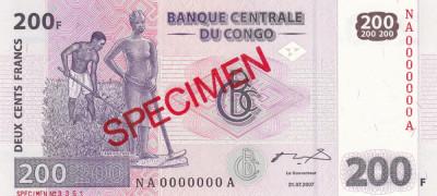 Congo 200 Francs 31.07.2007 UNC foto