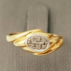 Inel din aur 10k, decorat cu diamante - Inel diamant, Carataj aur: 12k, Culoare: Galben