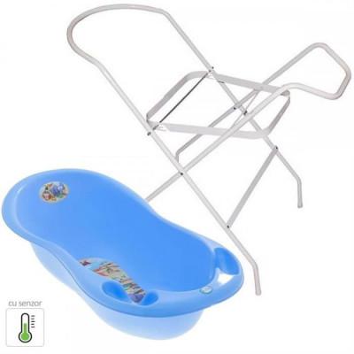 Pachet Cadita Piscot Safari Cu Senzor De Temperatura + Suport Cadita - Albastru foto